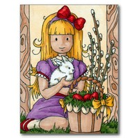 Cute Little Girl with Easter Bunny Postcards from Zazzle.com
