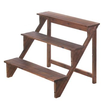Wooden Stairway Plant Stand