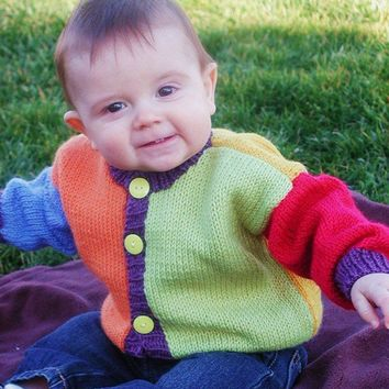 Hand Knit Baby Sweater Cardigan Size 9 to 12 by BabywearbyBabs