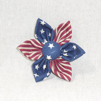 Patriotic Red, White and Blue Fabric Flower Pin