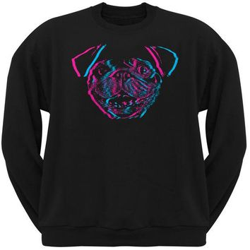 CREYCY8 3D Pug Face Black Adult Crew Neck Sweatshirt