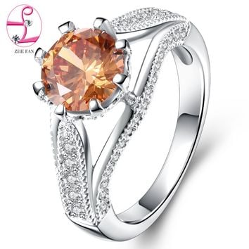 ZHE FAN Luxury Champagne AAA Cubic Zirconia Rhodium Plated Crown Ring Women Party Wedding Jewelry Gift
