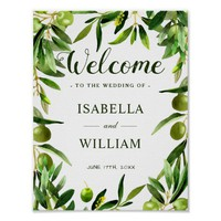 Welcome Sign | Elegant Olive Leaf Boho Garden