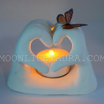 Light Holding Heart Shaped Hands With Butterfly - Made to Order - You Pick Color