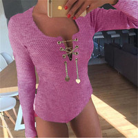 Pink Long Sleeve Jumpsuits