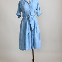 Vintage 1950s Cornflower Blue Shirtwaist Dress