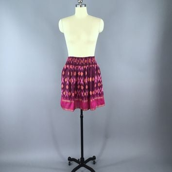 Silk Skirt / Vintage Indian Sari / Pink IKAT Print - Size Small to Medium
