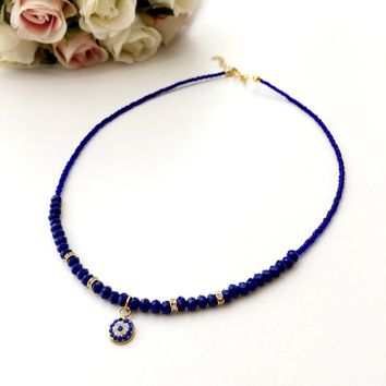Evil Eye Necklace - miyuki evil eye jewelry - blue evil eye necklace