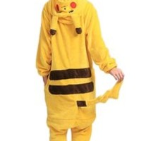 Lath.pin® Unisex Costume Animal Pikachu Cosplay Onesuit Adult Pajamas Anime Cartoon Sleepwear M Size