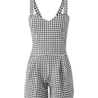 Monochrome Sweetheart Neck Gingham Playsuit