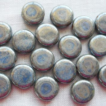 Lot of 25 8mm Czech glass flat round beads, opaque hematite with blue finish coin or disc beads 16701