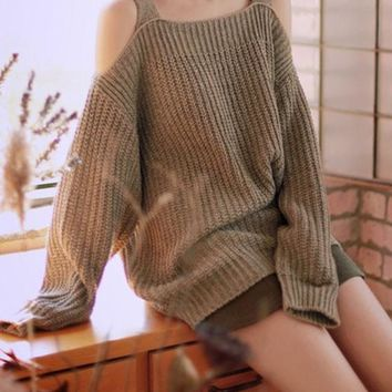 Khaki Plain Cut Out Off Shoulder Casual Loose Oversized Pullover Sweater