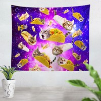 Tacos And Cats Purple Tapestry