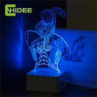 Creative Gifts Acrylic USB Lamp Spiderman 3D Night Lights Touch Dimmer LED Lampara Home Decor Children Sleeping Nightlight