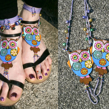 Owl Barefoot Sandals - Handmade Multicolor Bohemian Cotton Fabric Jewelry - XL2 Model