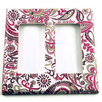 Double Rocker Switch Plate Light Switch Cover Wall Decor in Pink Paisley (099DR)