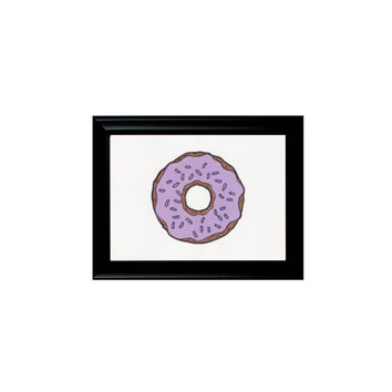 Purple Iced Donut Sweets Print Framed Wall Hanging