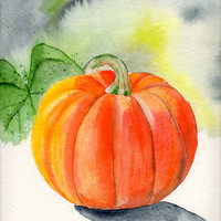 Original Watercolor Painting Fall Autumn Pumpkin for Halloween Decoration