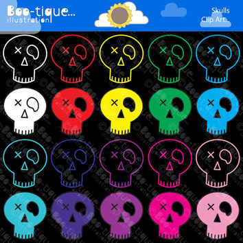 Skulls Digital Clipart for Instant Download. Halloween Skulls Clip Art. Day of the Dead Skulls Clipart. Halloween Clipart. Digital Skulls