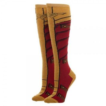 Wonder Woman Knee High Sock With Gold Lurex Yarn