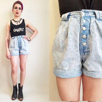 80s Denim Shorts High Waisted Shorts Acid Wash Shorts Button Up Shorts High Rise Shorts Lightweight Denim Shorts 25 Waist Mom Shorts