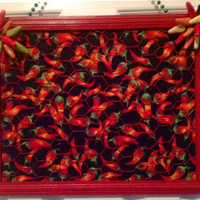 Chili pepper memo board decor framed chicken wire home Bow jewelry photo organizer holder bulletin kitchen room red black green fabric