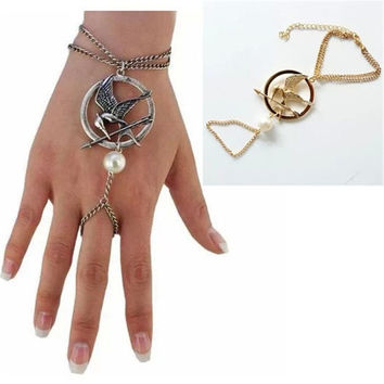 2014 pearl Metal rock golden hunger game Indian bohemian women chain bracelet & bangles silver Chain bracelets pulseras
