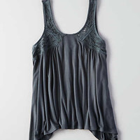 AEO Embroidered Swing Tank, Gray