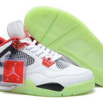 Cheap Air Jordans 4 Men Shoes Glow In The Dark White Red Black