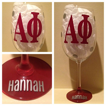 Alpha Phi, Personalized Wine Glass, Sorority Wine Glass, Custom Wine Glass, Big WIne Glass, Little Wine Glass
