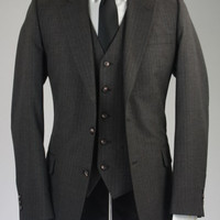 Vintage Gray Pinstripe Wool 3 Piece Suit 40 R