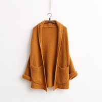 Thicken Knitted Cardigan Loose Sweater Women 2017 Japanese Girl Art Style Mid-long Sweaters With Large Pockets