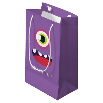Cute one eyed monster Happy Halloween Small Gift Bag