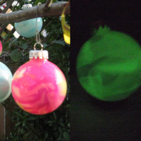 Set of two Glass Ornaments, Glow in the Dark Balls, Hand painted glass, glow in the dark paint, OOAK