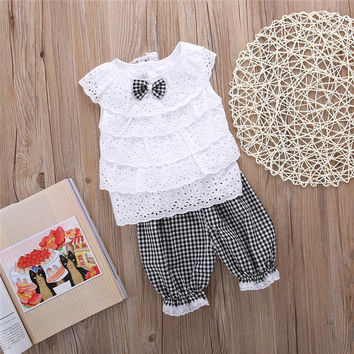 2PCS Toddler Kids Baby Girls Outfit Clothes Cute Lace Plaid Sets Sleeveless shirt Tops+ short Pants Trousers