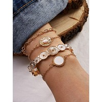 4pcs Hammered Round Decor Bracelet