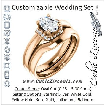 CZ Wedding Set, featuring The Jennifer Elena engagement ring (Customizable Oval Cut featuring Saddle-shaped Under Halo)