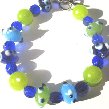 Lime And Blue Lampwork Beaded Bracelet Woemens Fun Fashion Jewelry