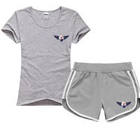 Trendsetter Maserati Women Men Casual Sport T-Shirt Top Tee Shorts Set Two-Piece
