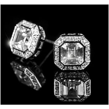 Liana Asscher Halo Stud Earrings | 4.5ct | Cubic Zirconia | Silver