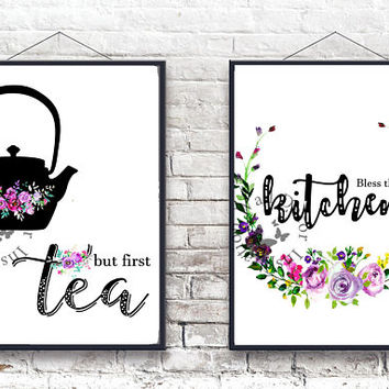 Bless this kitchen | But first tea | Kitchen decor | Typography | Home decor | Silhouette | Flowers wreath | Calligraphy