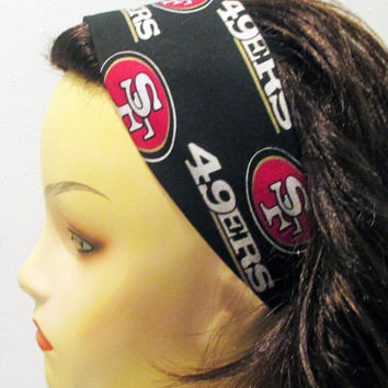 San Francisco 49ers Headband Wide Reversible Fabric Wrap Around Head Band