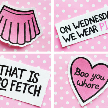 Mean Girls, Film Quotes, Pink, Black & White, Hand-Painted, Upcycled Patch Set By Stitchy Delinquent
