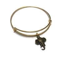 Elephant Charm Bracelet - Elephant Bracelet - Adjustable Bangle Bracelet - Elephant Bangle - Gold Elephant Jewelry - Stacking Bangles
