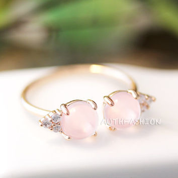 Light Pink Stone Balls Ring Adjustable Open ring Pink Gold tone Plated Jewelry gift idea