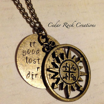 Inspirational Compass Necklace, Lost In The Right Direction - Hand Stamped Jewerly, Uplifting Inspirational Jewelry