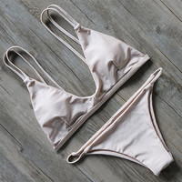 Creme Straight Caged Back Bikini