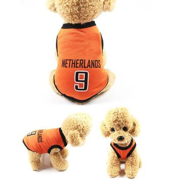 Pet Dog Football Match Print Vest Clothes for Dogs Costume Sports Pet T-shirt Clothing Plus Size HG99