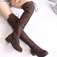 COOTELILI Thigh High Boots Lace-Up Women Shoes Over The Knee Boots Flat Long Boots Ladies Rubber Boots Women Shoes 35-43