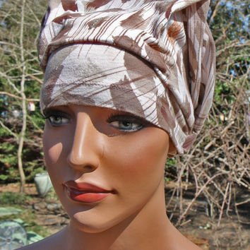 Headscarf for women-chemo hat patient hat-doo rag head wrap recycled upcycled cancer hat.